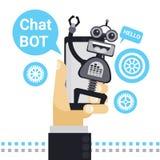 Mens die met Praatje Bot op Cel Slimme Telefoon, Element van de Robot het Virtuele Hulp van Website of Mobiele Toepassingen babbe Stock Fotografie