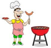 Mens die met schort lapje vlees en worsten roosteren stock illustratie
