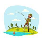 Mens die met staaf vissen, die vectorvissen op haak vangen royalty-vrije illustratie