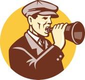 Mens die met Uitstekende Retro Megafoon schreeuwt royalty-vrije illustratie