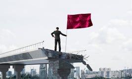 Mens die met vlag leidingsconcept voorstellen Royalty-vrije Stock Fotografie