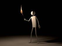 Mens die met Vlammende Toorts in Dark gaat Royalty-vrije Stock Afbeeldingen