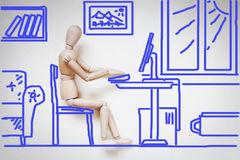 Mens die met zijn computer door de lijst werken Abstract beeld met Stock Fotografie
