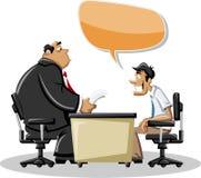 Mens die met zijn werkgever spreekt Royalty-vrije Stock Afbeeldingen