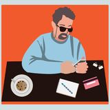 Mens die mobiele smartphone met creditcards voor online purchas gebruiken Royalty-vrije Stock Afbeelding