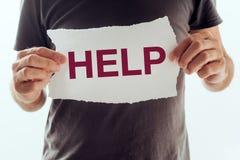 Mens die om hulp en steun vraagt royalty-vrije stock afbeeldingen