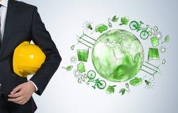 Mens die om schoon milieu, ecoenergie, bescherming geven Stock Afbeelding