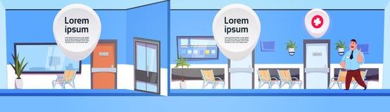 Mens die op Arts Over Modern Hospital of Kliniek Binnenlandse Achtergrond wachten vector illustratie