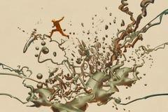 Mens die op de abstracte vorm springen vector illustratie