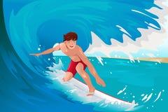 Mens die op de oceaan surfen Stock Foto's