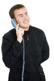 Mens die op de telefoon spreekt. royalty-vrije stock fotografie