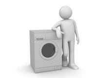 Mens die op de wasmachine leunt Royalty-vrije Stock Foto