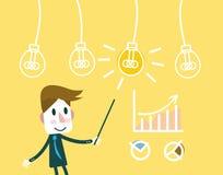 Mens die op een Idee lightbulb met de groeigrafieken richten vector illustratie
