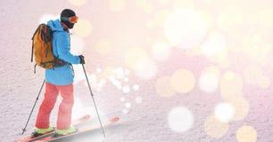 mens die op helling ski?en royalty-vrije illustratie