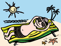 Mens die op het overzees rusten stock illustratie