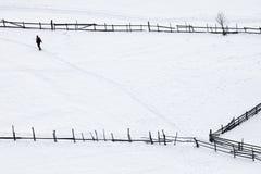 Mens die op het tapijt van sneeuw loopt Royalty-vrije Stock Afbeeldingen