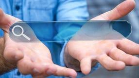 Mens die op Internet surfen die tastbare website bar 3D renderi gebruiken Royalty-vrije Stock Foto