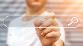 Mens die op Internet surfen die tastbare website bar 3D renderi gebruiken Stock Fotografie