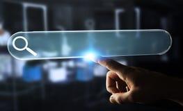 Mens die op Internet surfen die tastbare website bar 3D renderi gebruiken Stock Foto