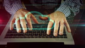 Mens die op laptop toetsenbord met bitcoin schrijven vector illustratie