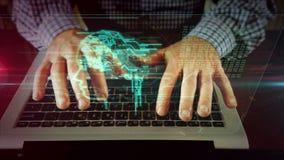 Mens die op laptop toetsenbord met cyber hoofdhologram schrijven stock illustratie