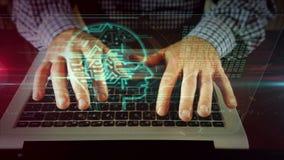 Mens die op laptop toetsenbord met cyber hoofdhologram schrijven stock video
