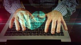 Mens die op laptop toetsenbord met cyberhart schrijven stock footage