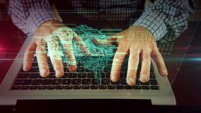 Mens die op laptop toetsenbord met cybernetische hersenen schrijven stock videobeelden