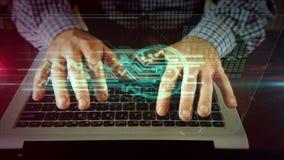 Mens die op laptop toetsenbord met cybersleutel schrijven stock video