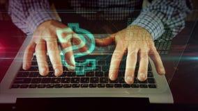 Mens die op laptop toetsenbord met dollarteken schrijven stock footage