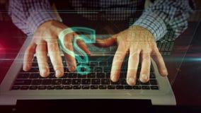 Mens die op laptop toetsenbord met vraagteken schrijven stock videobeelden