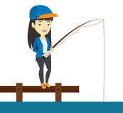 Mens die op pier vectorillustratie vissen vector illustratie