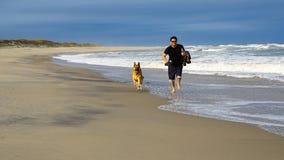 Mens die op Strand met Hond lopen Stock Fotografie