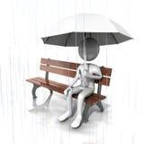 Mens die open Witte Paraplu houdt. Royalty-vrije Stock Fotografie
