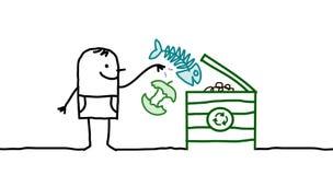 Mens die organisch compost maakt royalty-vrije illustratie