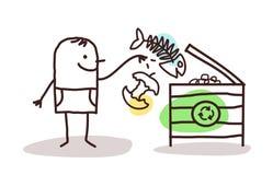 Mens die organisch compost maakt stock illustratie