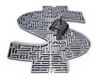 Mens die oud het labyrintcentrum bevinden zich van het vraagteken grijs 3d geld Royalty-vrije Stock Foto's