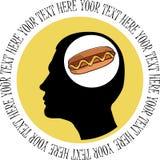 Mens die over hotdog denkt. Royalty-vrije Stock Afbeelding
