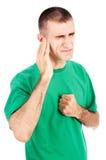 Mens die pijn in oor voelt Royalty-vrije Stock Foto