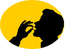 Mens die pillen eet Royalty-vrije Stock Foto