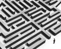 Mens die reusachtig concreet labyrint onder ogen zien royalty-vrije illustratie