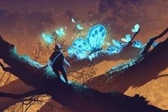 Mens die reuze blauwe vlinders bekijken die op boomtak rusten stock illustratie