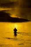Mens die in Rivier vissen Vroege Ochtend Royalty-vrije Stock Afbeeldingen