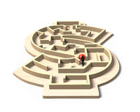 Mens die rode bal in het labyrintspel van de geldvorm duwen Royalty-vrije Stock Afbeelding