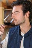 Mens die rode wijnfragrances ruikt Stock Foto