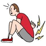 Mens die rugpijn hebben terwijl het doen van opstellingen Stock Afbeeldingen