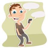 Mens die slimme telefoon met behulp van Stock Fotografie