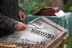 Mens die traditioneel gehamerd hakkebord spelen stock afbeelding