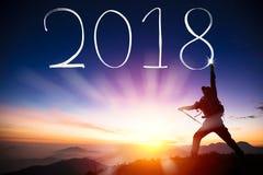 Mens die 2018 trekt door flitslicht bovenop berg Stock Fotografie