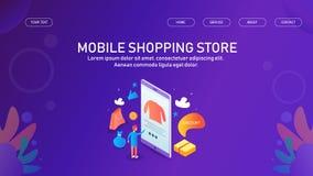 Mens die van online mobiele opslag kopen, online winkelend, mobiele handel, m-handel, kleinhandelsconcept vector illustratie